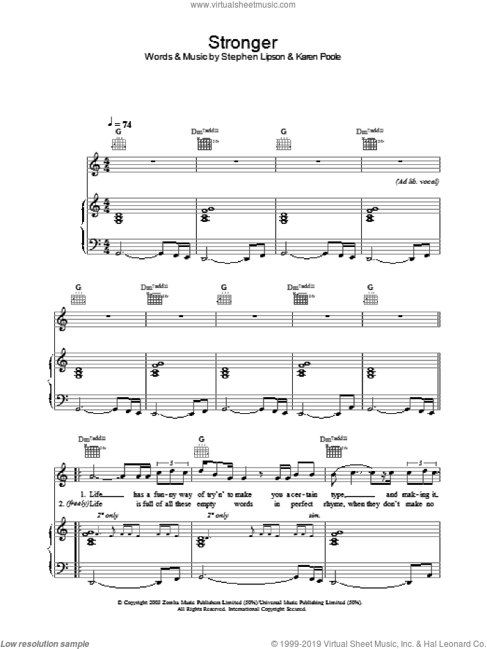 Stronger sheet music for voice, piano or guitar by Will Young. Score Image Preview.
