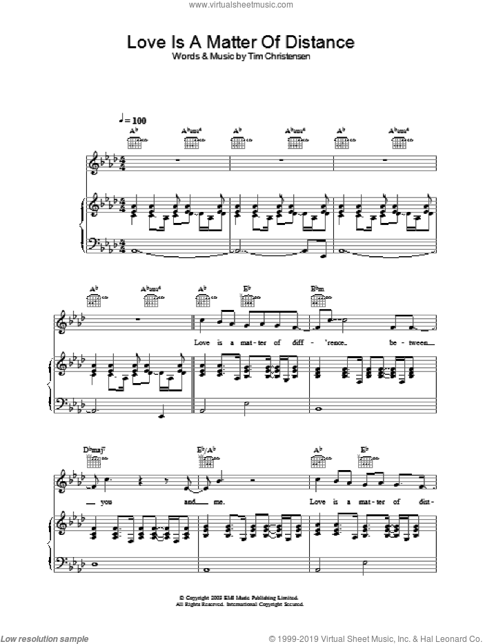 Love Is A Matter Of Distance sheet music for voice, piano or guitar by Will Young