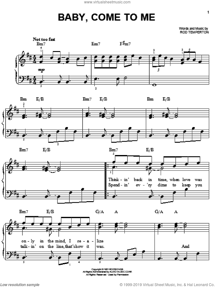 Baby, Come To Me sheet music for piano solo by Patti Austin, James Ingram and Rod Temperton, easy skill level