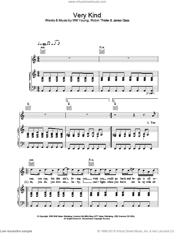 Very Kind sheet music for voice, piano or guitar by Will Young, intermediate skill level