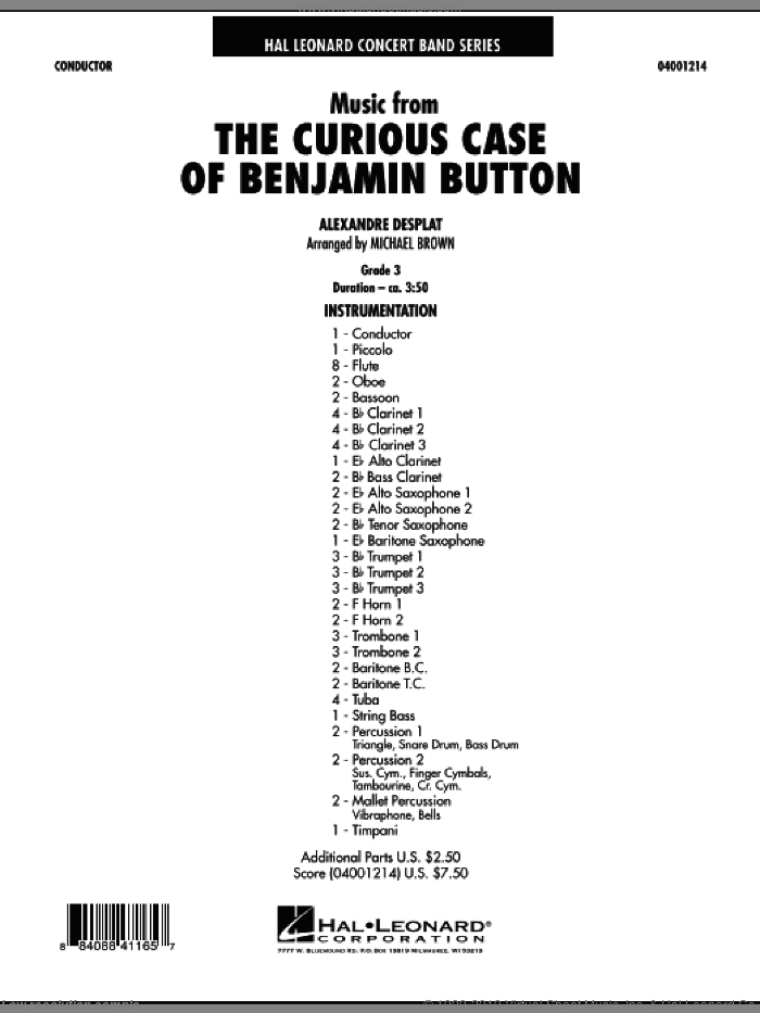 Music from The Curious Case of Benjamin Button (COMPLETE) sheet music for concert band by Alexandre Desplat and Michael Brown, intermediate concert band. Score Image Preview.