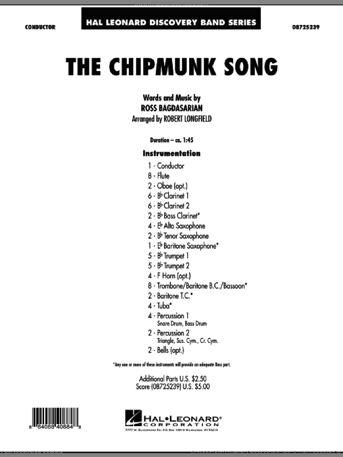 The Chipmunk Song (COMPLETE) sheet music for concert band by Robert Longfield and Ross Bagdasarian, intermediate skill level