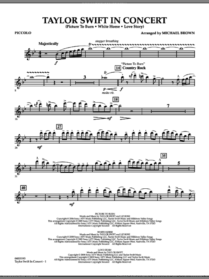 Taylor Swift, in concert sheet music for concert band (piccolo) by Michael Brown