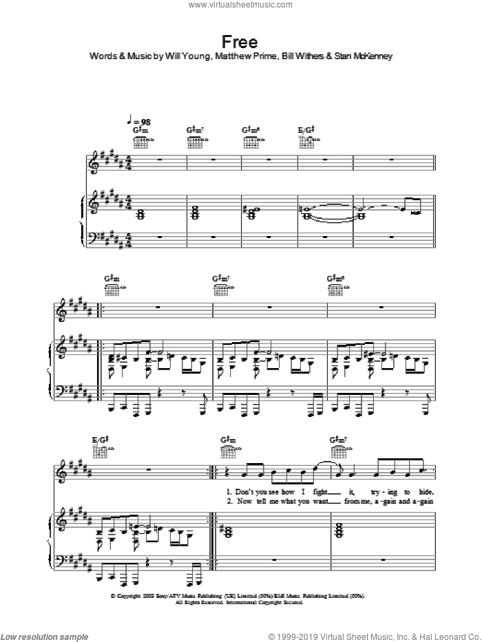 Free sheet music for voice, piano or guitar by Will Young