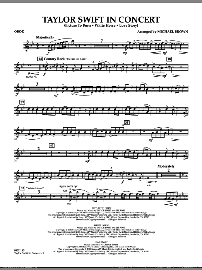 Taylor Swift, in concert sheet music for concert band (oboe) by Michael Brown