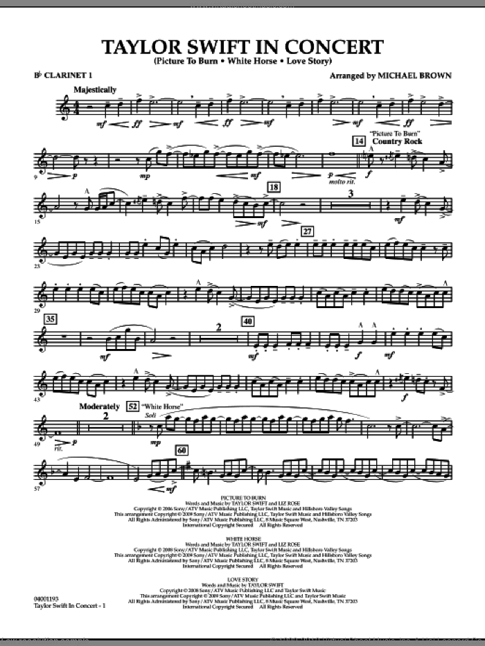 Taylor Swift, in concert sheet music for concert band (Bb clarinet 1) by Michael Brown