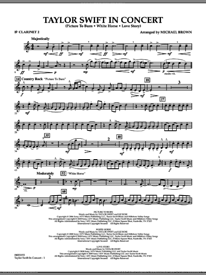 Taylor Swift, in concert sheet music for concert band (Bb clarinet 2) by Michael Brown