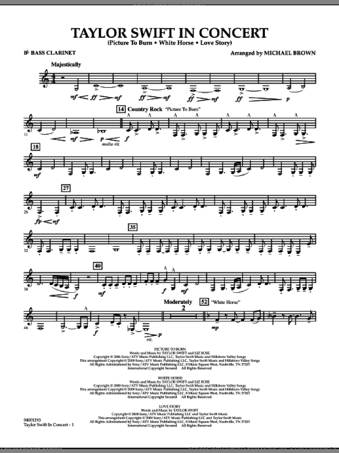 Taylor Swift, in concert sheet music for concert band (Bb bass clarinet) by Michael Brown