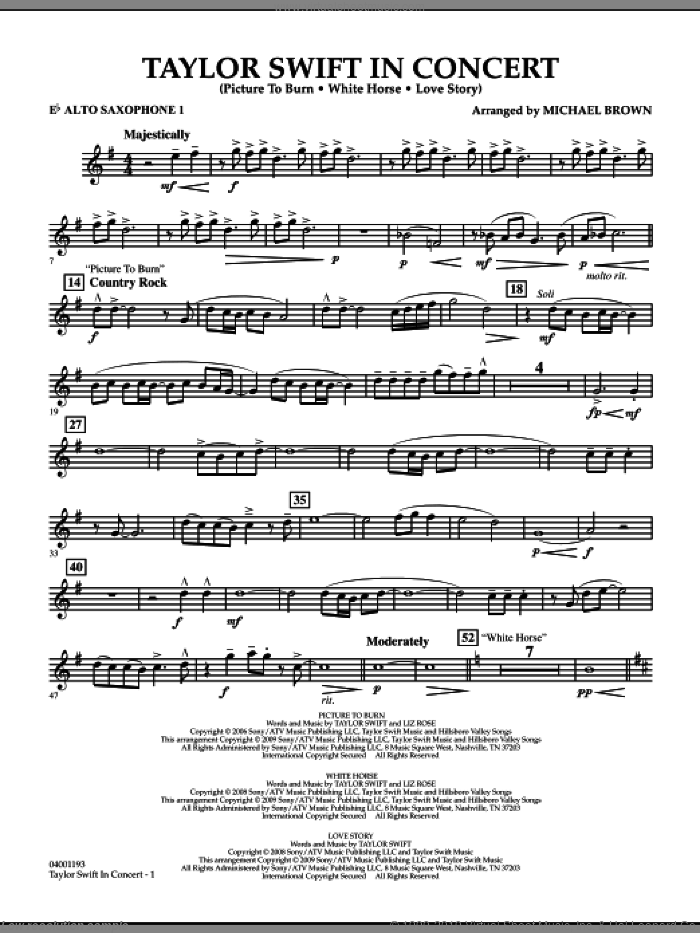 Taylor Swift, in concert sheet music for concert band (Eb alto saxophone 1) by Michael Brown