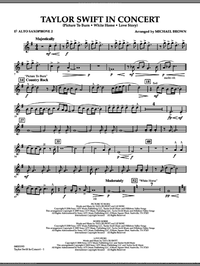 Taylor Swift, in concert sheet music for concert band (Eb alto saxophone 2) by Michael Brown