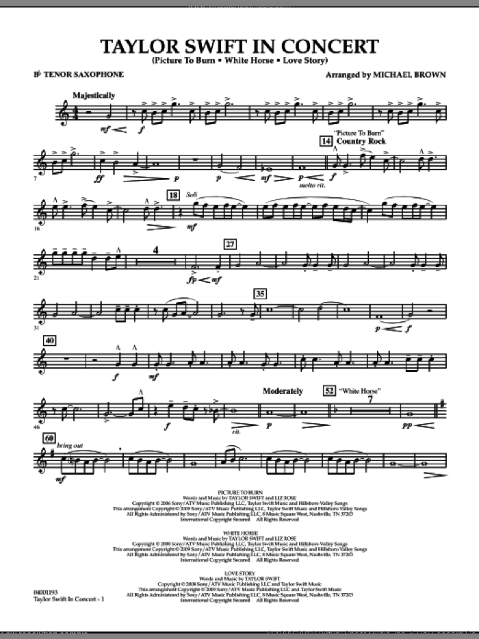 Taylor Swift, in concert sheet music for concert band (Bb tenor saxophone) by Michael Brown