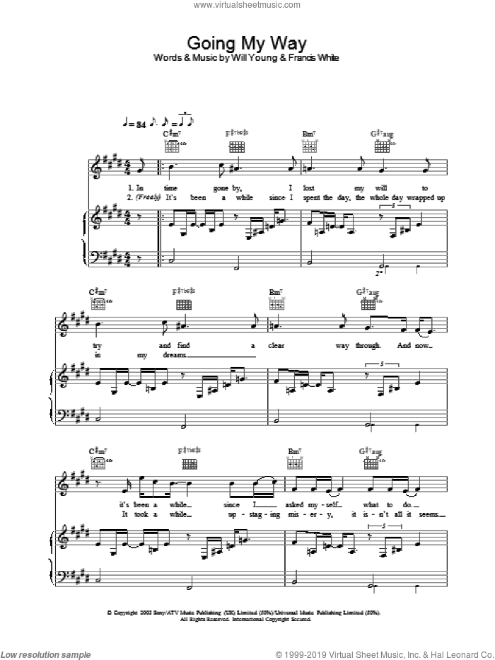 Going My Way sheet music for voice, piano or guitar by Will Young, intermediate skill level