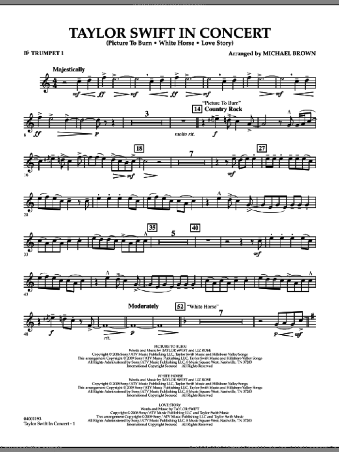 Taylor Swift, in concert sheet music for concert band (Bb trumpet 1) by Michael Brown