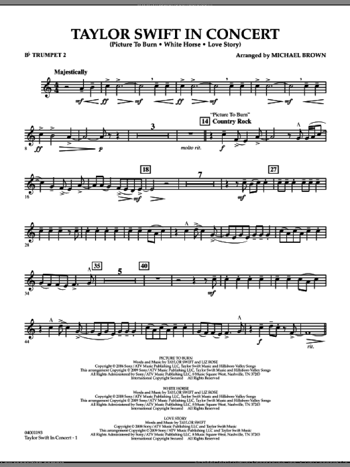 Taylor Swift, in concert sheet music for concert band (Bb trumpet 2) by Michael Brown