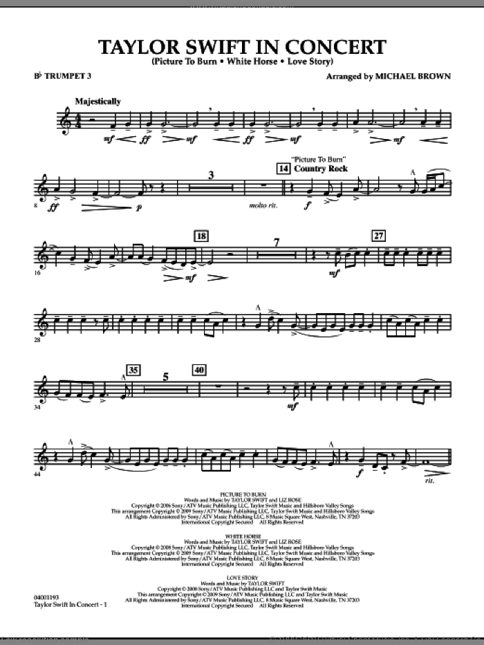 Taylor Swift, in concert sheet music for concert band (Bb trumpet 3) by Michael Brown