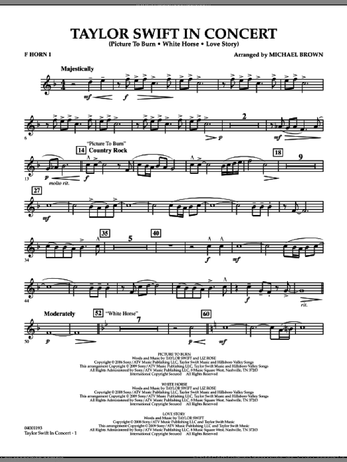Taylor Swift, in concert sheet music for concert band (f horn 1) by Michael Brown