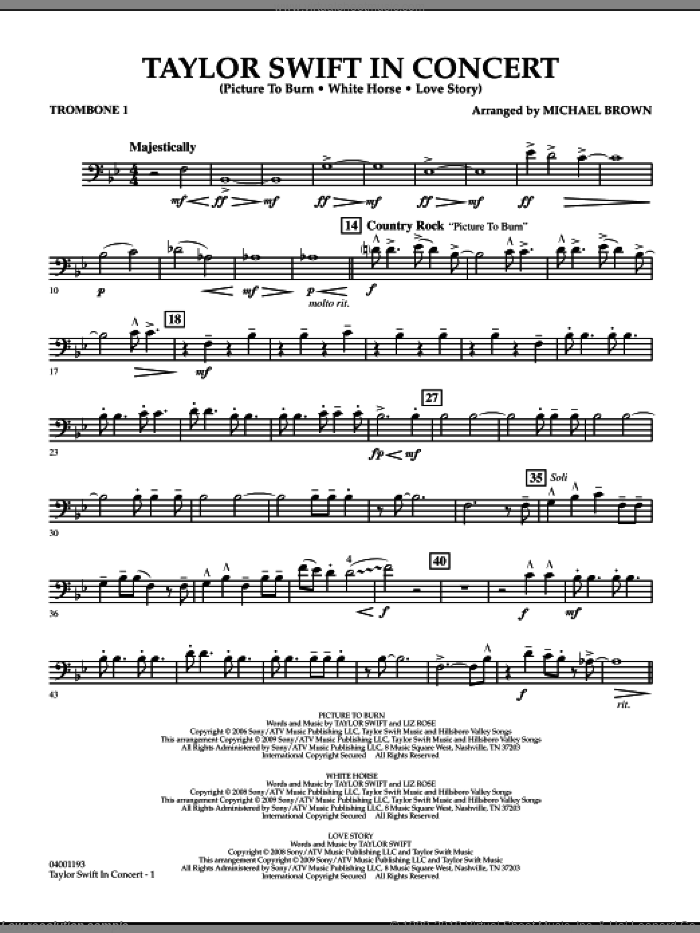 Taylor Swift, in concert sheet music for concert band (trombone 1) by Michael Brown