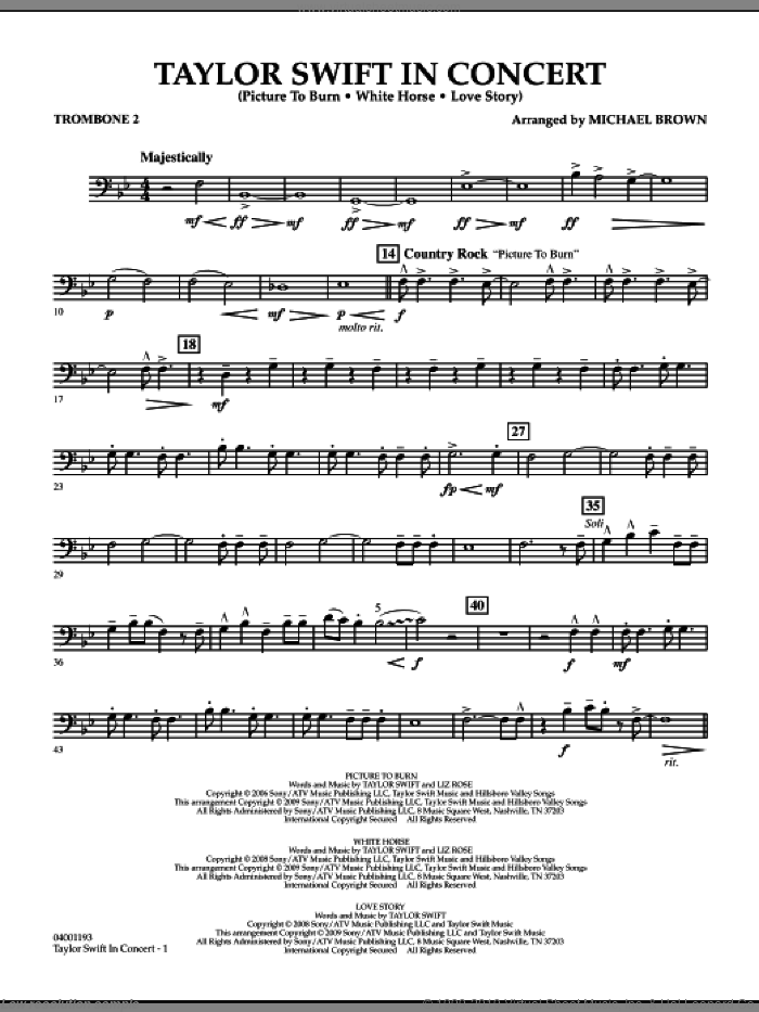 Taylor Swift, in concert sheet music for concert band (trombone 2) by Michael Brown