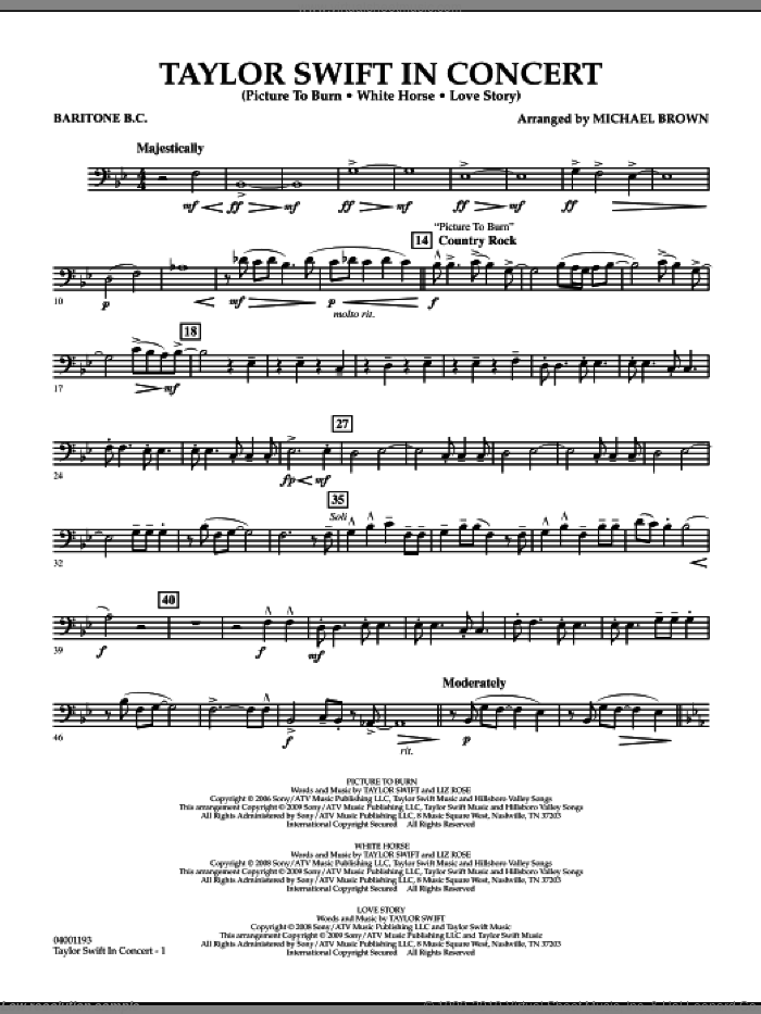 Taylor Swift, in concert sheet music for concert band (baritone b.c.) by Michael Brown