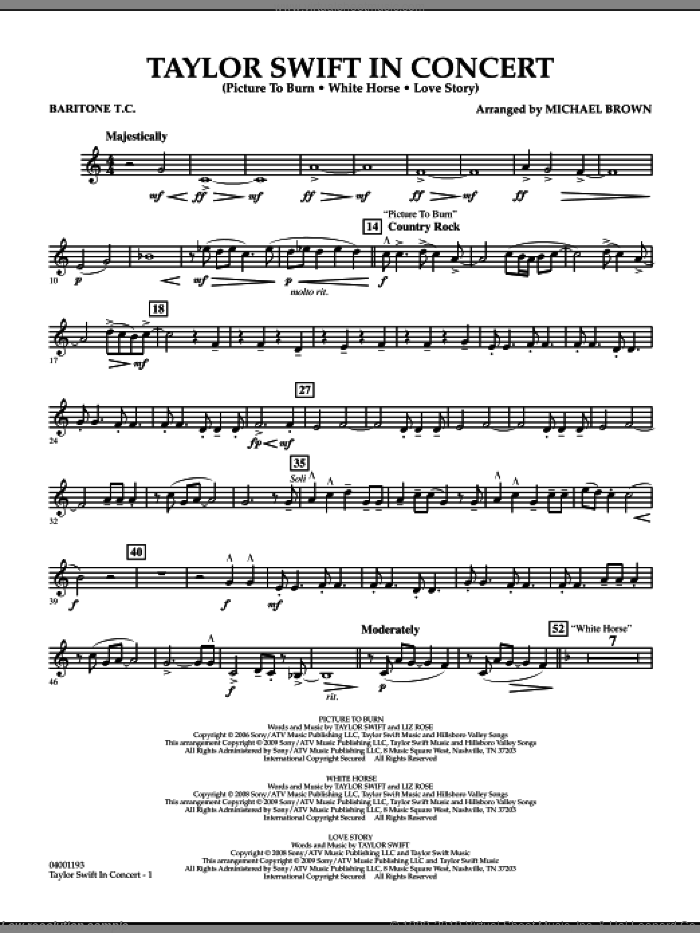 Taylor Swift, in concert sheet music for concert band (baritone t.c.) by Michael Brown