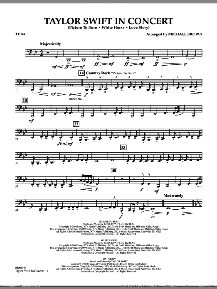Taylor Swift, in concert sheet music for concert band (tuba) by Michael Brown
