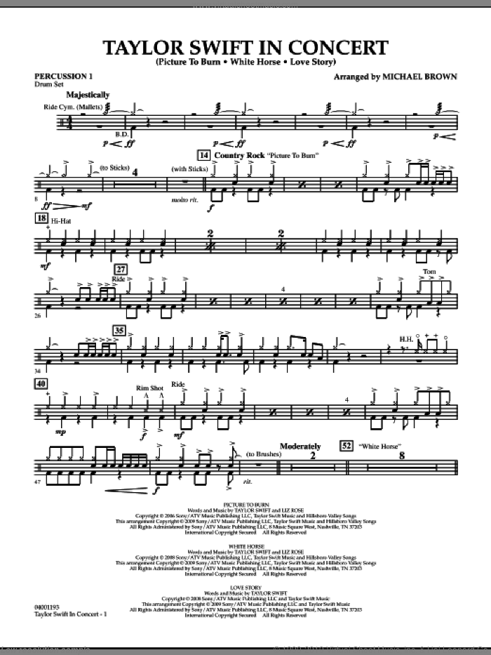 Taylor Swift, in concert sheet music for concert band (percussion 1) by Michael Brown