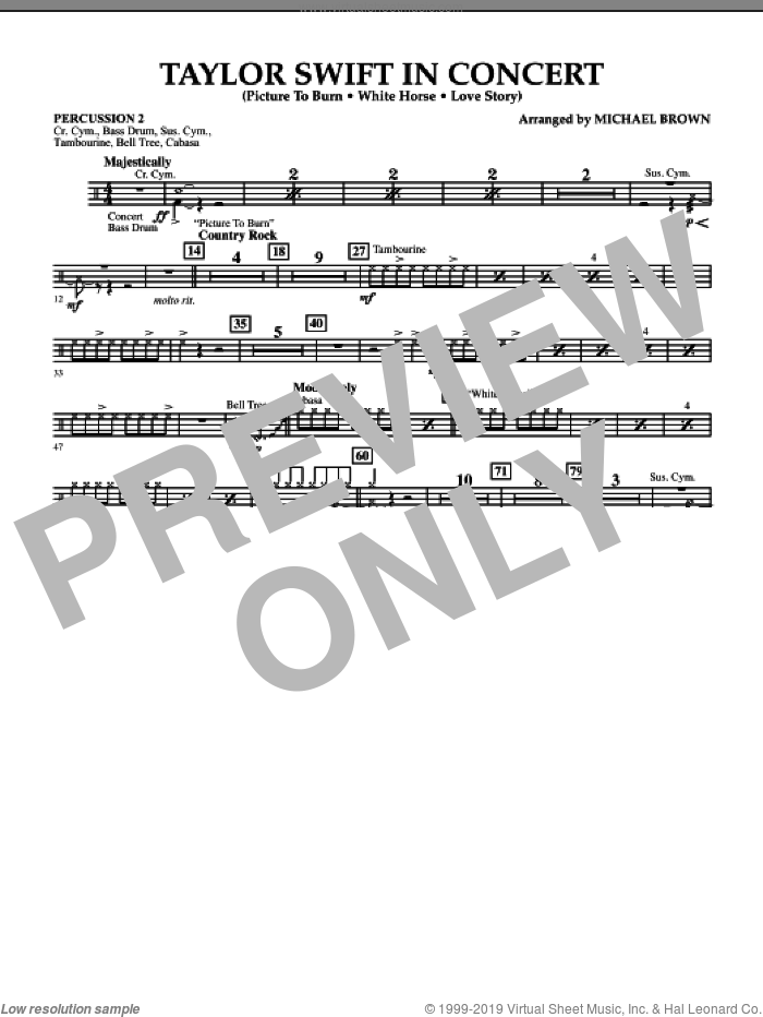 Taylor Swift, in concert sheet music for concert band (percussion 2) by Michael Brown