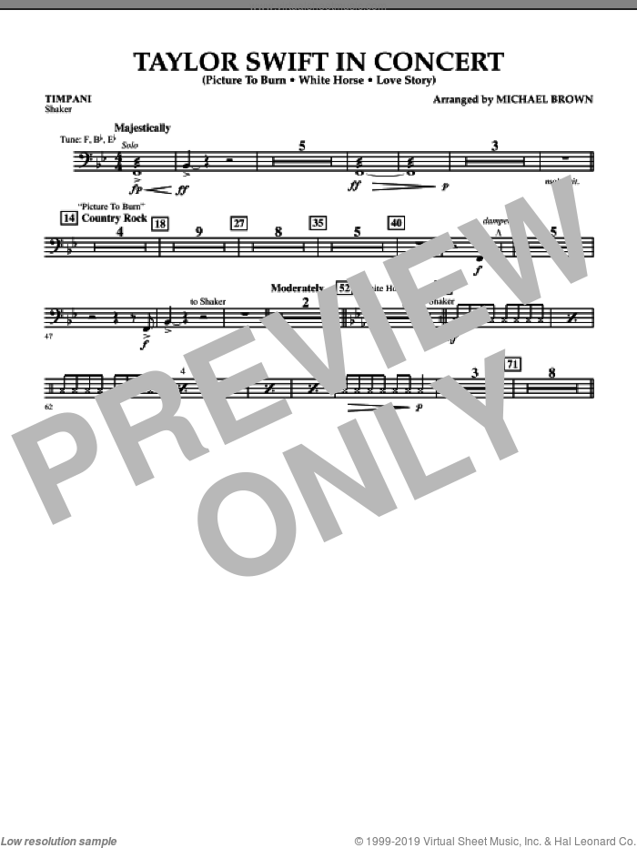 Taylor Swift, in concert sheet music for concert band (timpani) by Michael Brown
