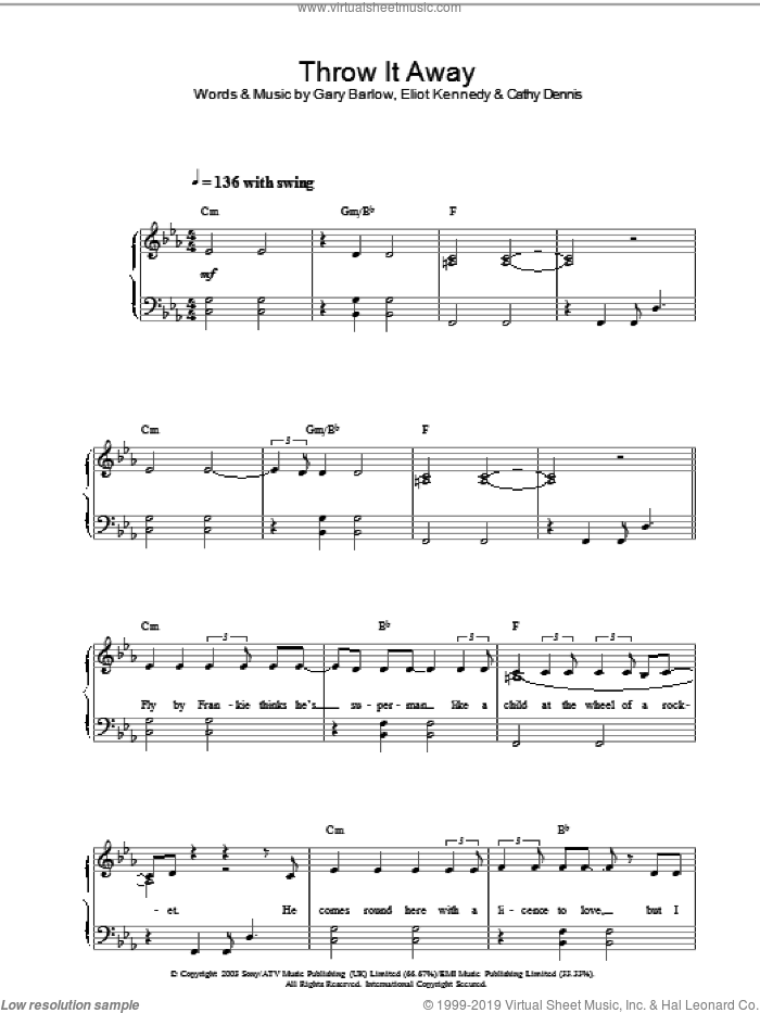 Throw It Away, (intermediate) sheet music for piano solo by Delta Goodrem, intermediate. Score Image Preview.
