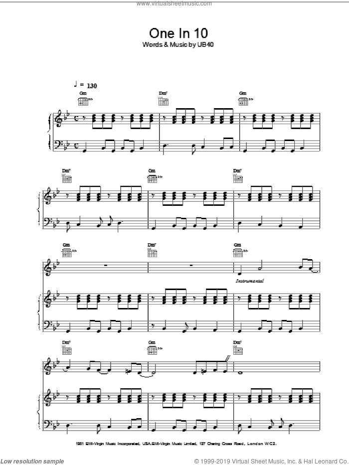 One In 10 sheet music for voice, piano or guitar by UB40