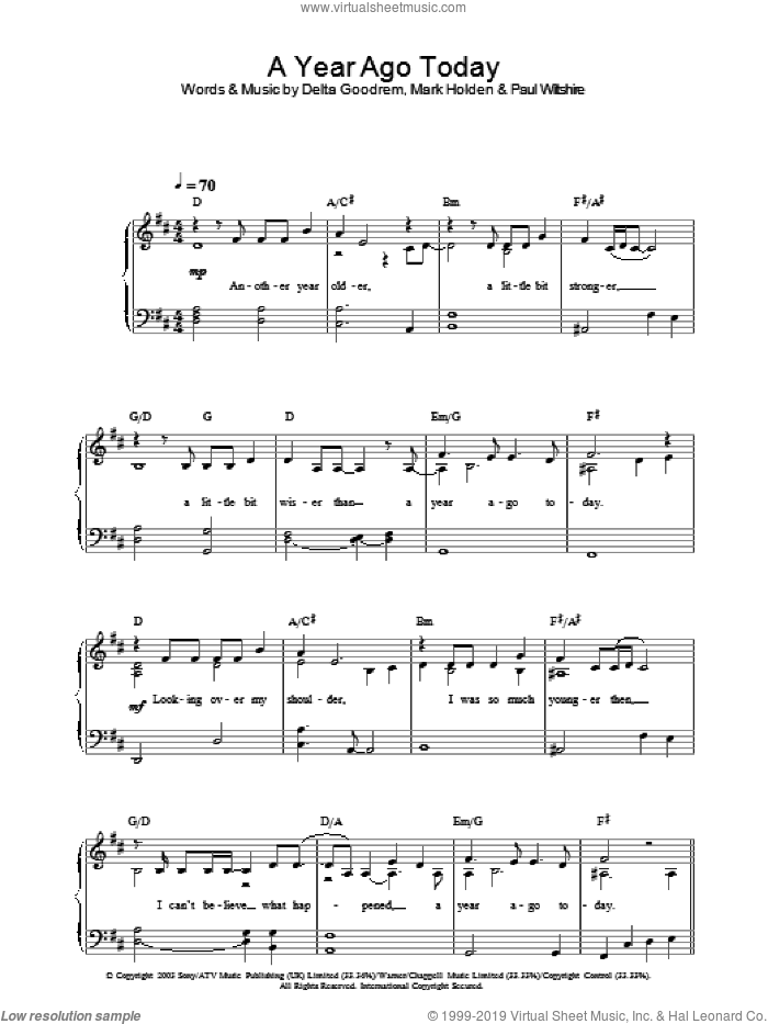 A Year Ago Today sheet music for piano solo by Delta Goodrem
