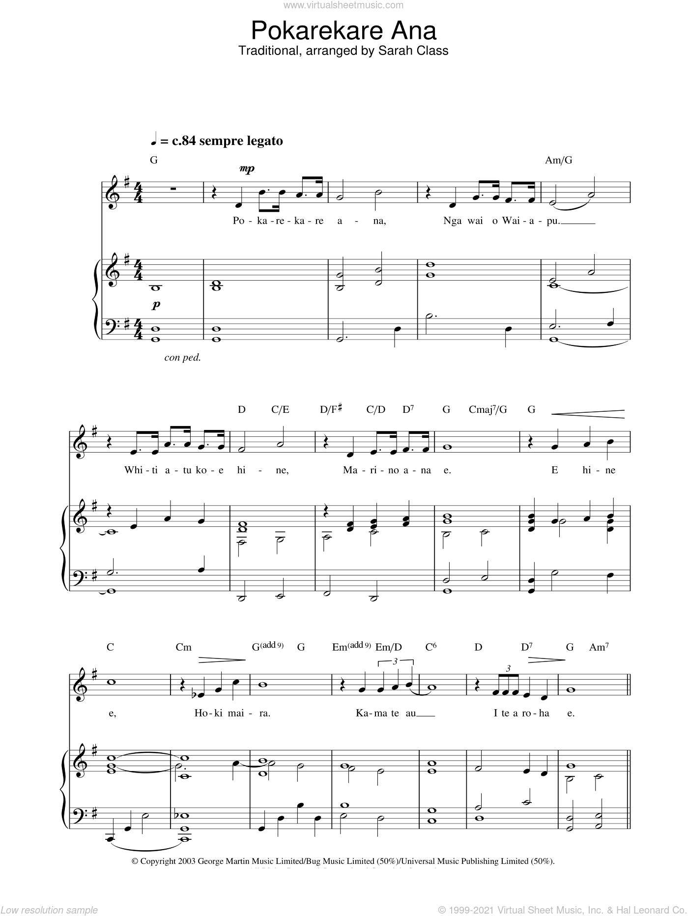 Pokarekare Ana sheet music for voice, piano or guitar by Hayley Westenra. Score Image Preview.