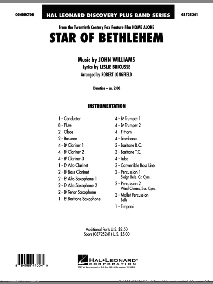The Star of Bethlehem (from 'Home Alone') (COMPLETE) sheet music for concert band by John Williams, Leslie Bricusse and Robert Longfield, intermediate