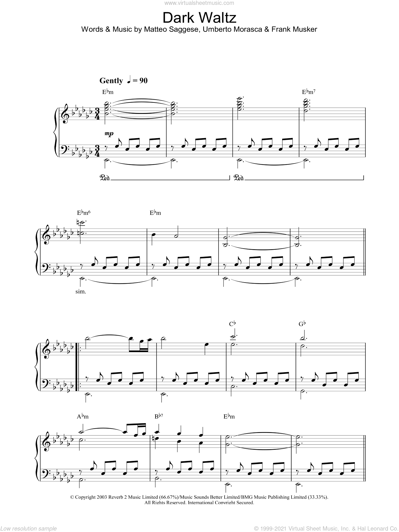 Dark Waltz sheet music for voice, piano or guitar by Hayley Westenra, intermediate. Score Image Preview.