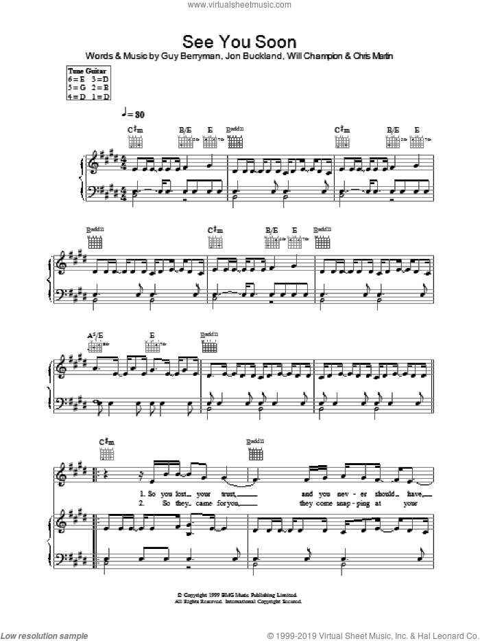 See You Soon sheet music for voice, piano or guitar by Coldplay, intermediate skill level