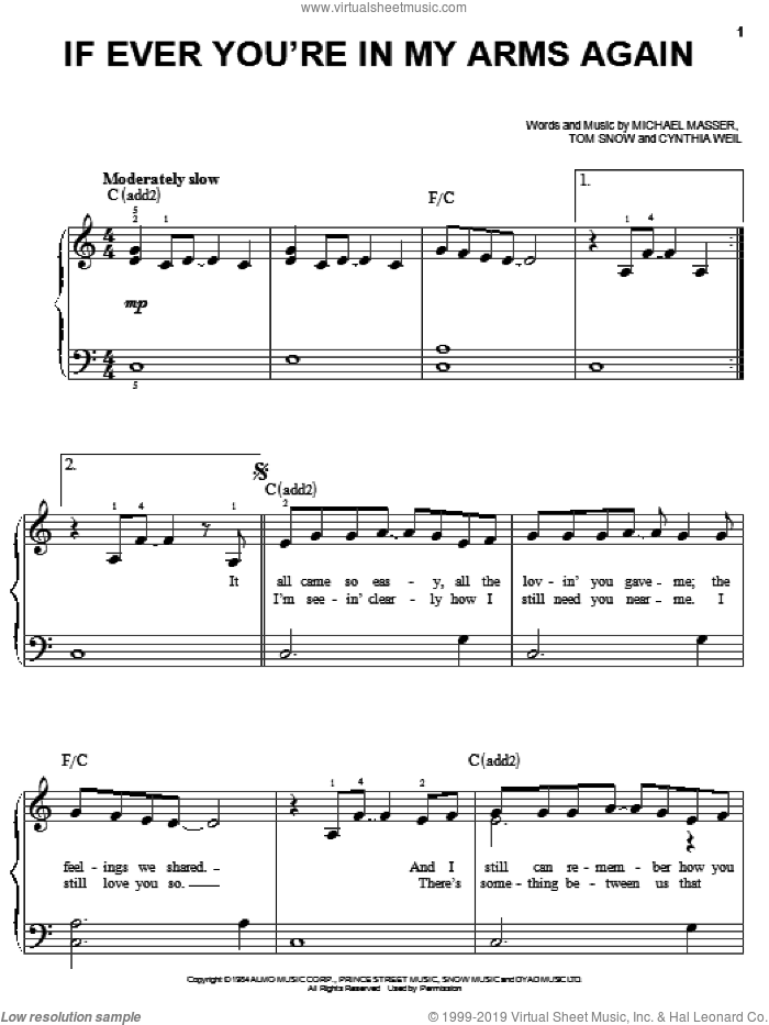 If Ever You're In My Arms Again sheet music for piano solo by Peabo Bryson, Cynthia Weil, Michael Masser and Tom Snow, easy skill level