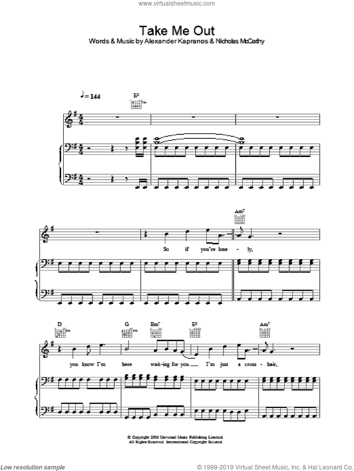 Take Me Out sheet music for voice, piano or guitar by Nicholas McCarthy, Franz Ferdinand and Alexander Kapranos. Score Image Preview.
