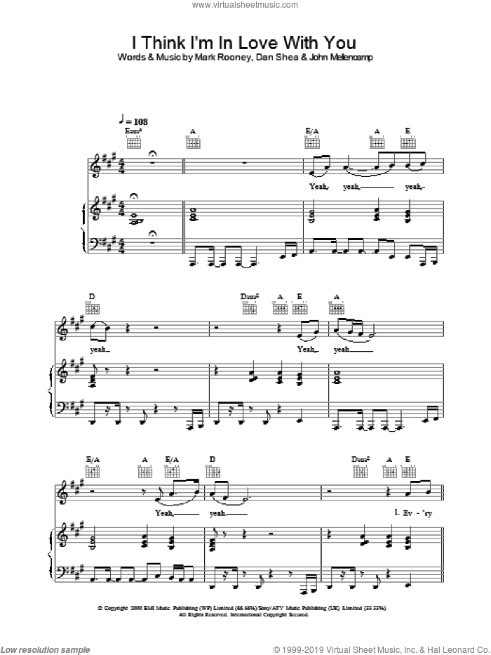 I Think I'm In Love With You sheet music for voice, piano or guitar by Jessica Simpson, intermediate skill level