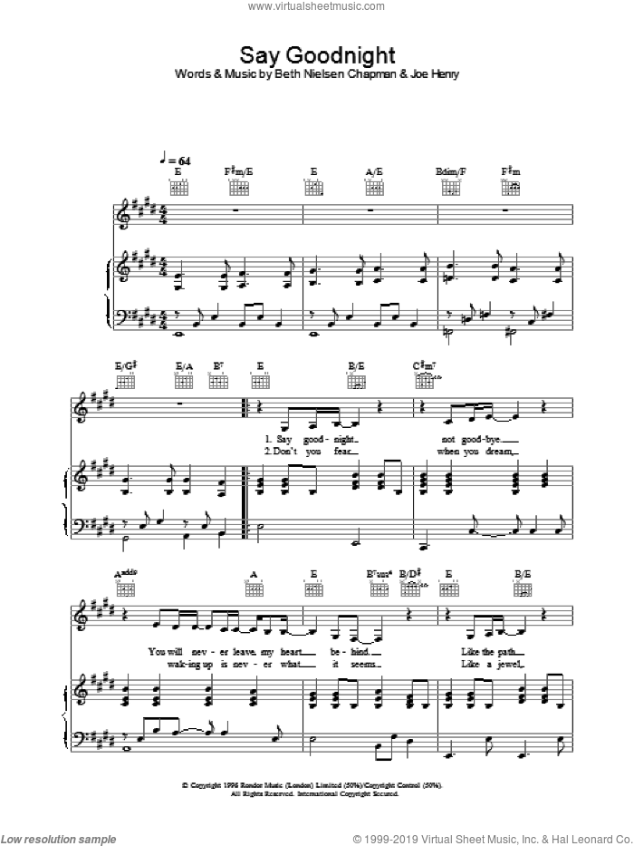 Say Goodnight sheet music for voice, piano or guitar by Beth Nielsen Chapman. Score Image Preview.