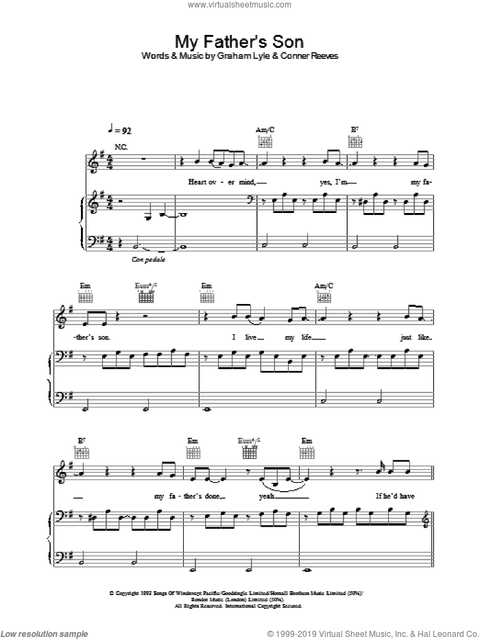 My Father's Son sheet music for voice, piano or guitar by Graham Lyle