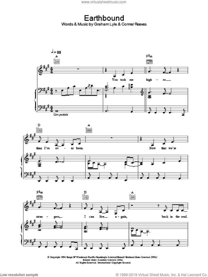Earthbound sheet music for voice, piano or guitar by Graham Lyle