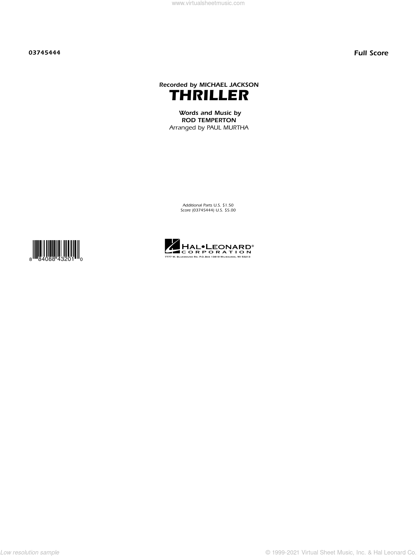 Thriller sheet music for marching band (full score) by Rod Temperton