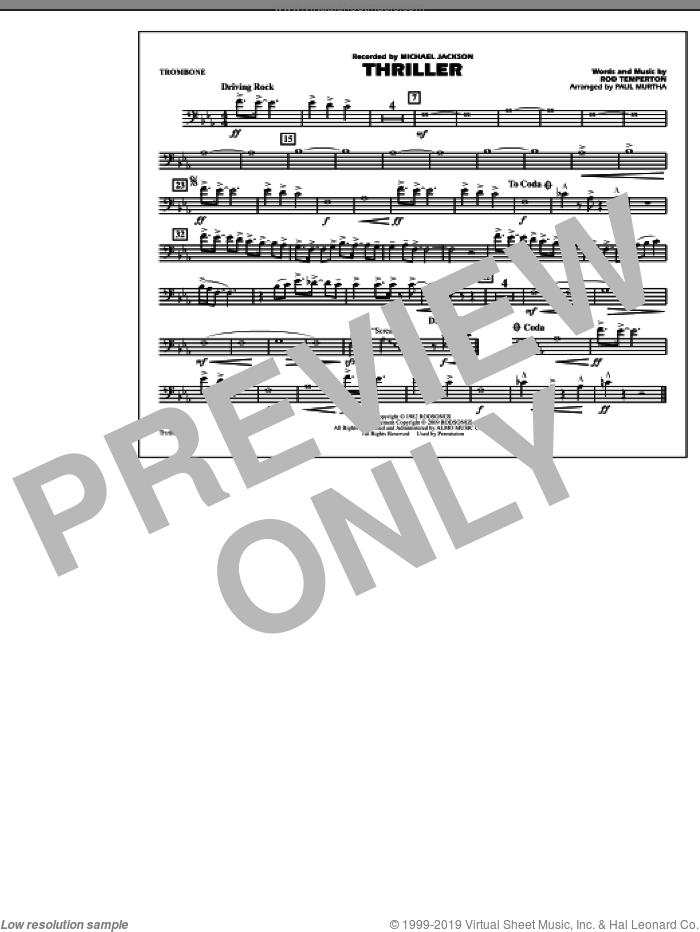 Thriller sheet music for marching band (trombone) by Rod Temperton