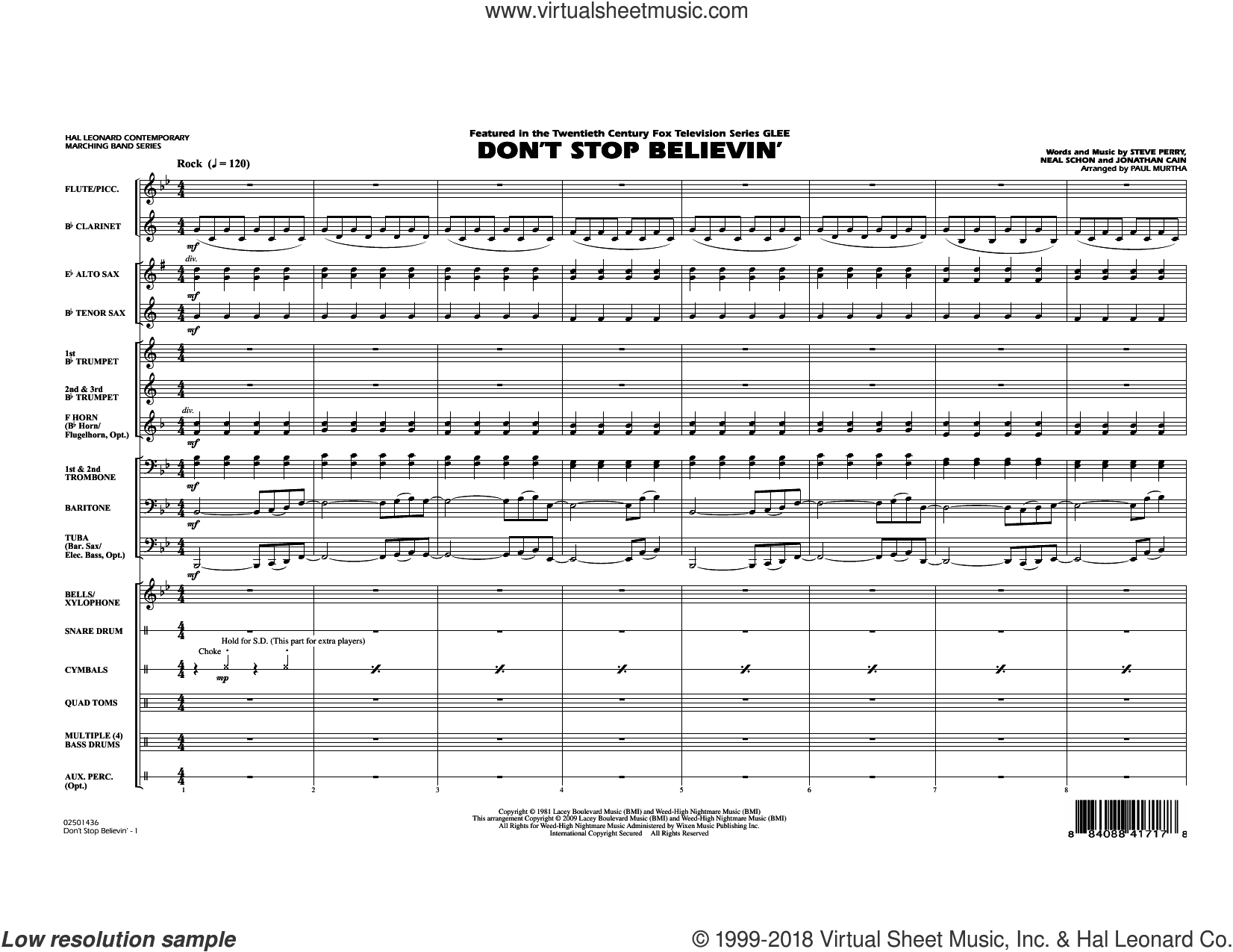 Don't Stop Believin' (COMPLETE) sheet music for marching band by Paul Murtha, Jonathan Cain, Journey, Miscellaneous, Neal Schon and Steve Perry, intermediate skill level