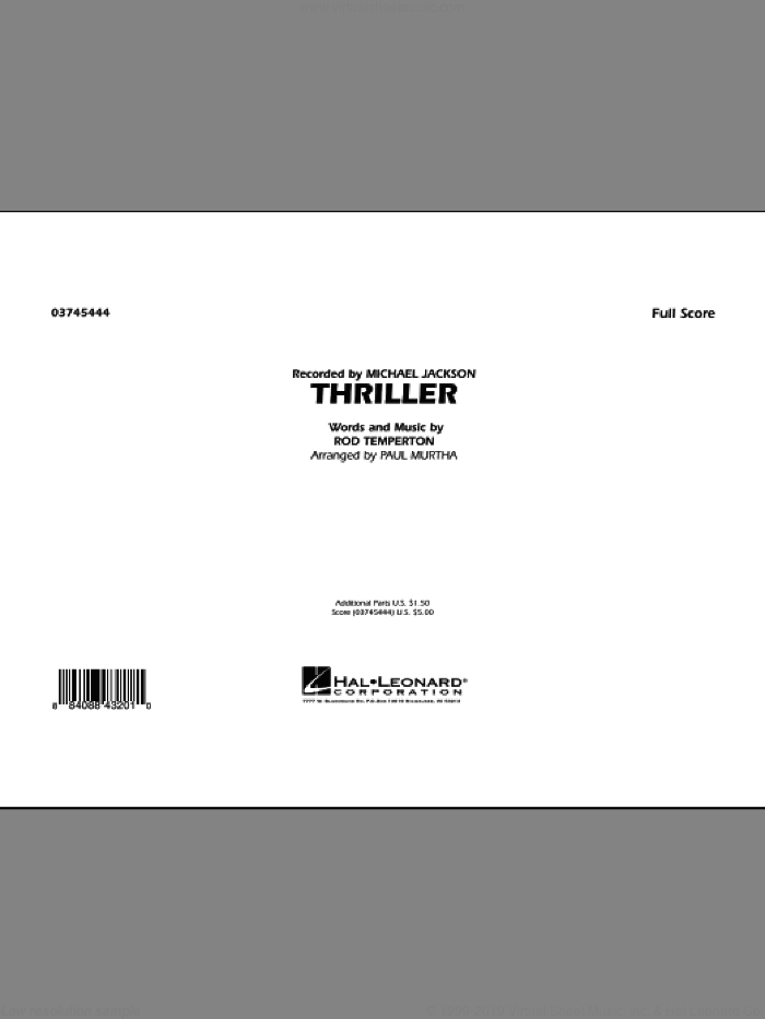 Thriller (COMPLETE) sheet music for marching band by Paul Murtha, Rod Temperton and Michael Jackson, intermediate skill level
