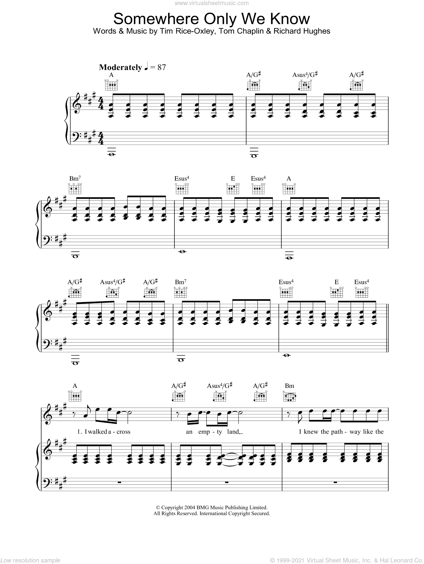 Somewhere Only We Know sheet music for voice, piano or guitar by Tim Rice-Oxley, intermediate skill level
