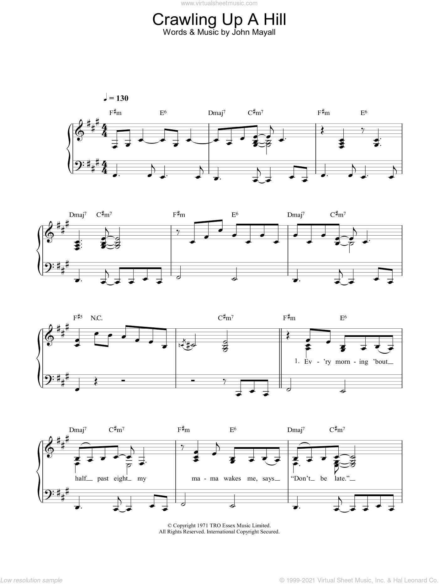 Crawling Up A Hill sheet music for piano solo by Katie Melua, intermediate