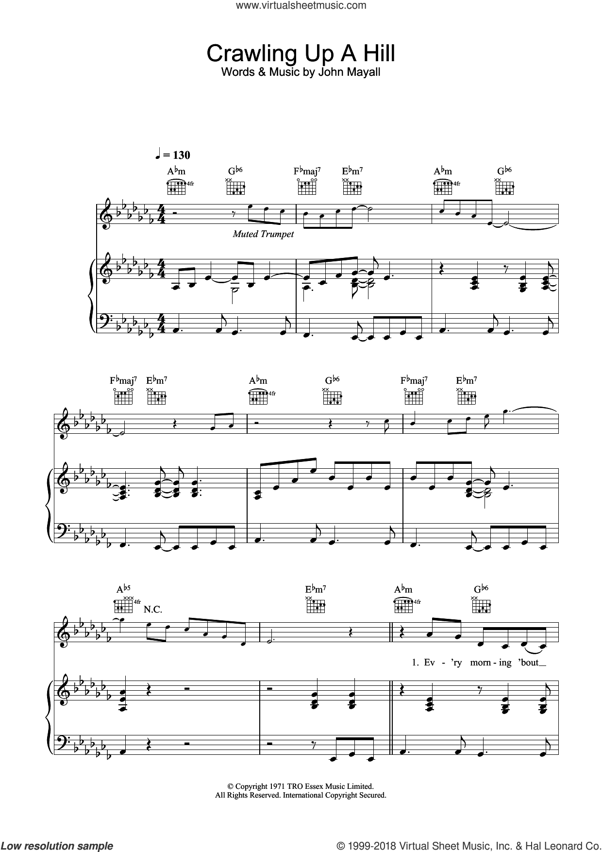 Crawling Up A Hill sheet music for voice, piano or guitar by Katie Melua and John Mayall, intermediate skill level