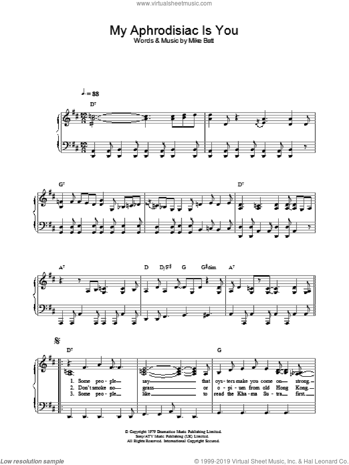 My Aphrodisiac Is You sheet music for piano solo by Katie Melua, intermediate skill level