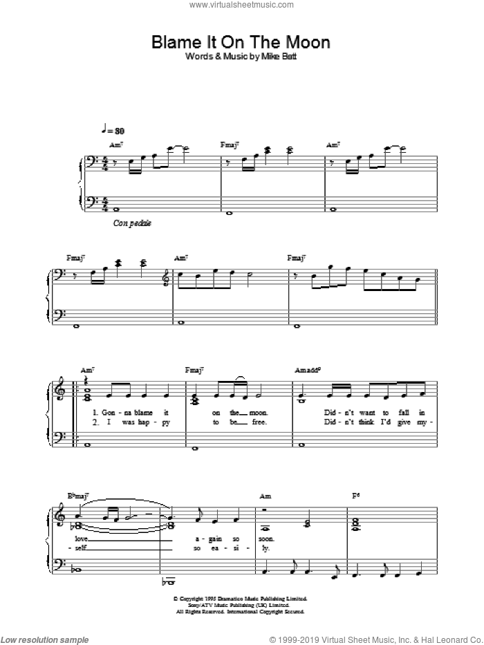 Blame It On The Moon sheet music for piano solo by Katie Melua, intermediate